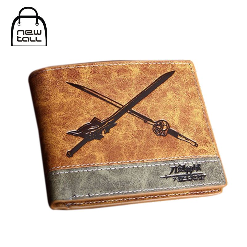[NEWTALL] Japanese Anime Sword Art Online SAO Kirito Asuna Sword PU Leather Short Bifold Wallet Credit Card Holder Purse T1248