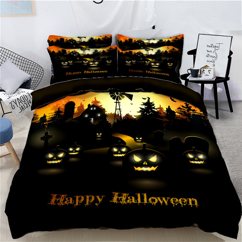 Kids adults Halloween Bedding Set for 4Pcs Funny Gift 3D Duvet Cover Set   queen Decor Bed Linens Set Twin Queen super King SizeKids adults Halloween Bedding Set for 4Pcs Funny Gift 3D Duvet Cover Set   queen Decor Bed Linens Set Twin Queen super King Size
