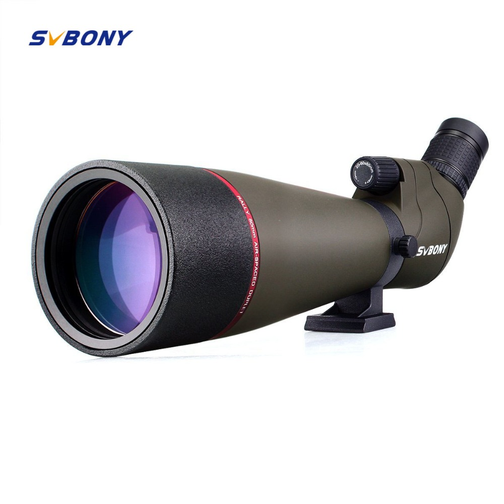 Svbony Spotting Scope Zoom 80mm 20-60x Refractor 45-градусный MC Optic Hunting Угол обзора Мощный телескоп Birdwatch F9314AB