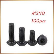 Бесплатная доставка, 100 шт., M3x10 мм, M3 * 10 мм, полукруглая цилиндрическая головка юаня, черная, класс 10,9, винт с шестигранной головкой из углерод...