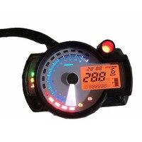 Universal de La Motocicleta Tacómetro Velocímetro Odómetro Digital LCD Ajustable con el Panel Blanco 299 MPH/KPH Odograph