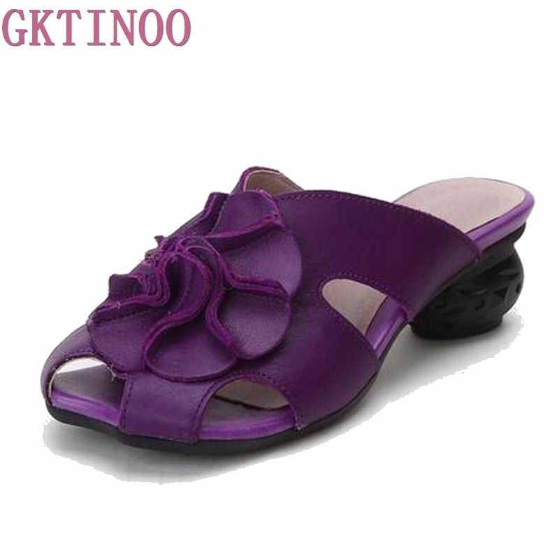 2018 Summer Slippers Genuine Leather Shoes Women Slides Cut Out Handmade Comfortable Flower Women Flat Sandals