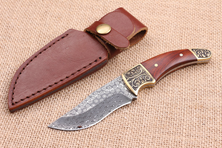 Buy High Quality Damascus Small Hunting Knives Copper+Wood Handle Camping Fixed Blade Knife Outdoor Straight Knife Tactical Tools cheap