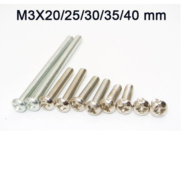 1000 Pcs M3 Edelstahl Phillips Schrauben Kreuz Runde Kopf Schraube Schrauben Muttern Verschlüsse Hardware Werkzeuge M3 x 20/ 25/30/35/40mm