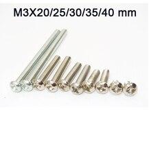 Tornillos Phillips de acero inoxidable M3 con cabeza redonda de estrella, tornillos, tuercas, herramientas de ferretería M3 x 20/25/30/1000mm, 35/40 Uds.