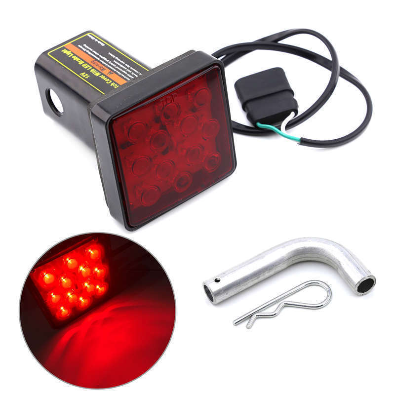 Keyecu Red Trailer Hitch Receiver Cover with 12 LED Brake Leds Light Tube Cover w/ Pin 1 ...