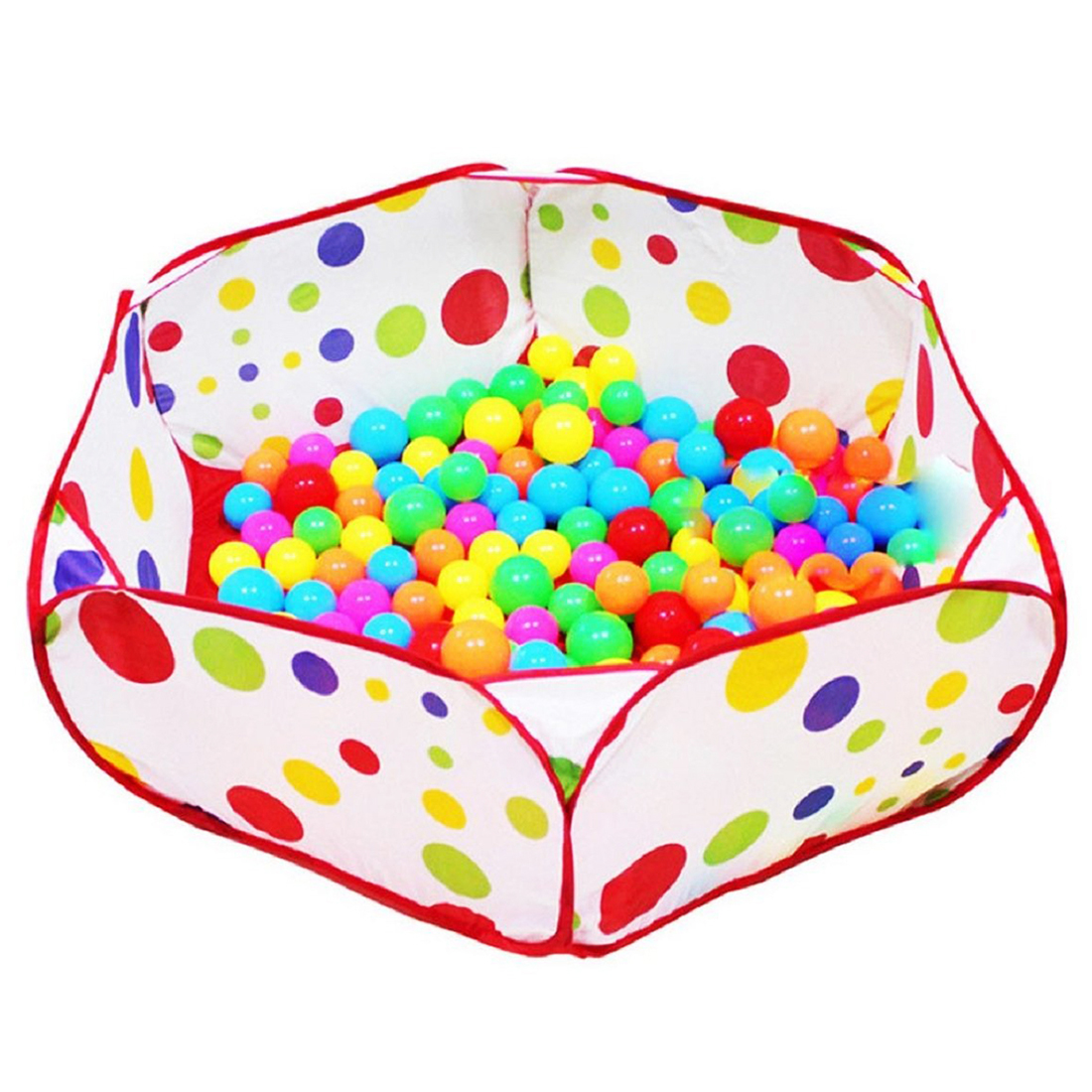 Pop up Hexagon Polka Dot Kids Ball Play Pool Tent Carry Tote Toy +50 Balls