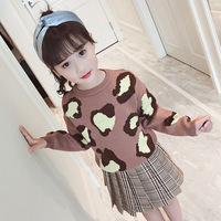 2018 Autumn New Pattern Girl Knitting Set Personality Leopard Print And Pleated Skirt Twinset