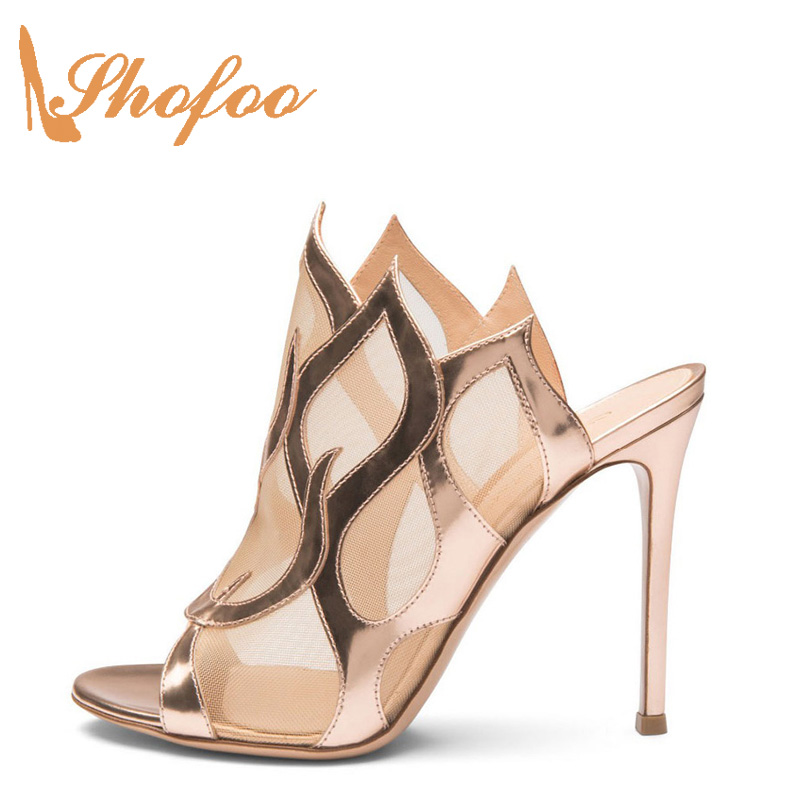 Shofoo 2017 Summer New Woman Peather Open Toe Mesh Lace Transparent Lovely Hot Fashion Handmade Womens Gold Shoes High Stiletto