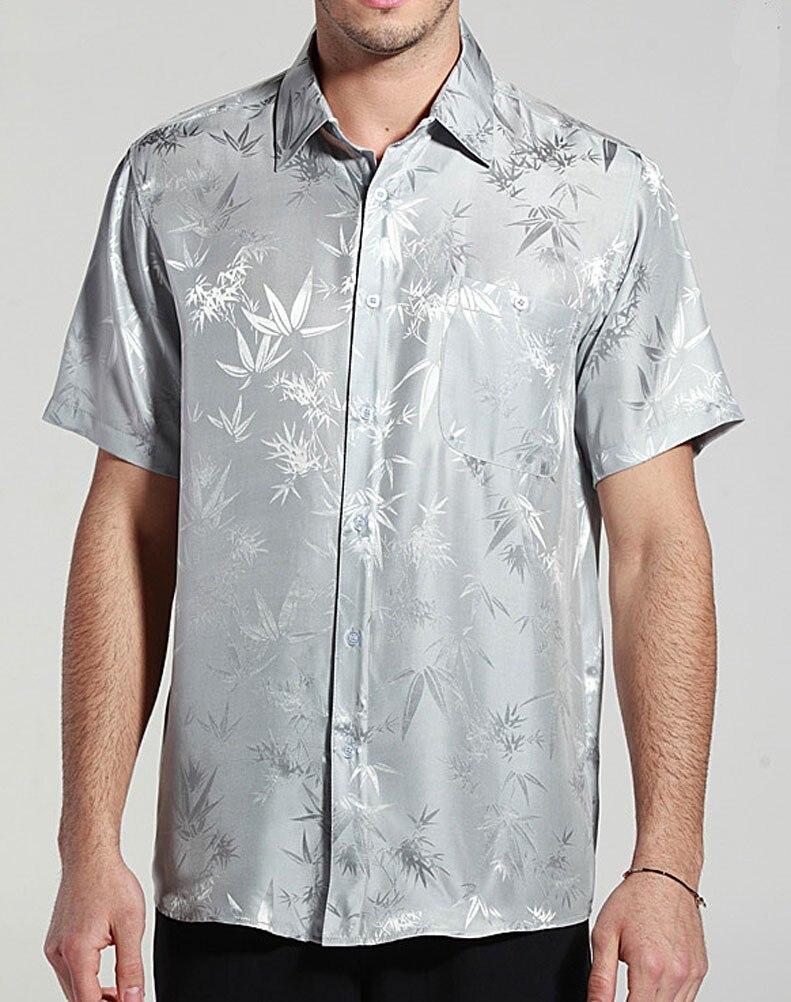 Здесь продается  Paradise Silk Bamboo Jacquard Charmeuse 100% Pure Silk Short Sleeves Shirt Size L XL XXL XXXL  Одежда и аксессуары