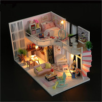 Sylvanian Families House DIY Miniature Dollhouse Kits Wooden Dolls House play Toys for Children Valentine's Day Gifts Juguetes