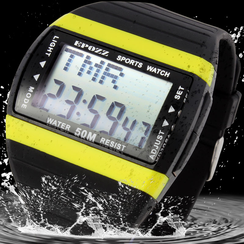 EPOZZ Streamline 7 Colour Back Light Men Sport Digital Watch Swimming Hours Diving Watches Outdoor Relogio Masculino Male Clock