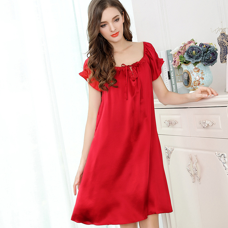 e67296a466 Summer 100% genuine silk sexy nightgown short sleeves nighty dress women  satin pure silk nightgowns women lingerie dress New-in Nightgowns    Sleepshirts ...