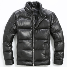 2017 Men Black Stand Collar Leather Down Jacket Men Winter Slim Fit Thick Russian Leather Coat