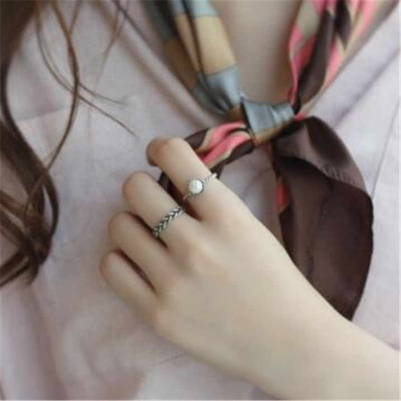 New Engagement Silver Women Pearl rings Vintage finger rings lot ladies simple Knuckle ring set for Female Party gifts Jewelry