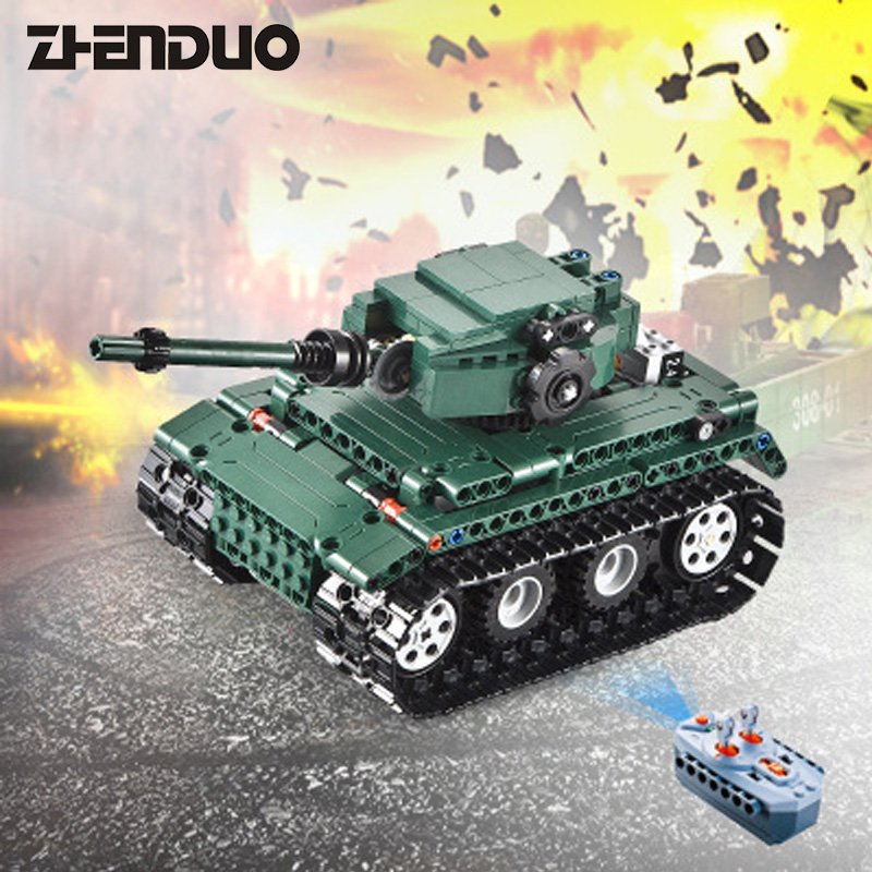 ZhenDuo Toys C51018 Military Technic Remote Control RC German Military Tiger Tank 1:35 Assembling Building Blocks Brick Toy c51018 german tiger tank rc 313pcs building blocks toys for children compatible legoings technic weapon