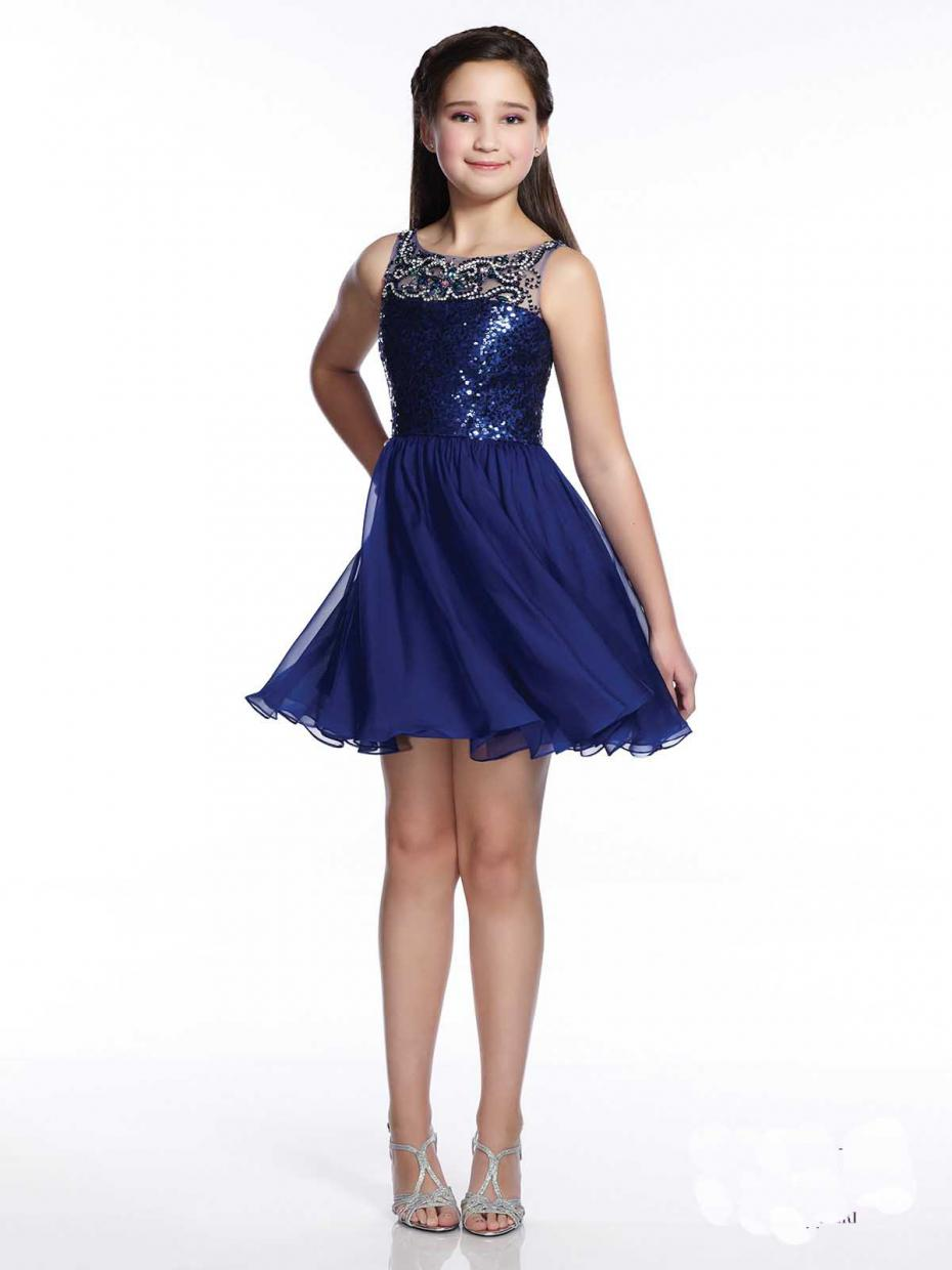 Scoop Top Sequin Beaded Knee Length Girls Pageant Gowns