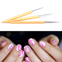Hot 3pcs Gold Nail Art Lines Painting Pen Brush Set Gel Polish Tips Flower 3d Design Manicure Pedicure Professional Drawing Tool