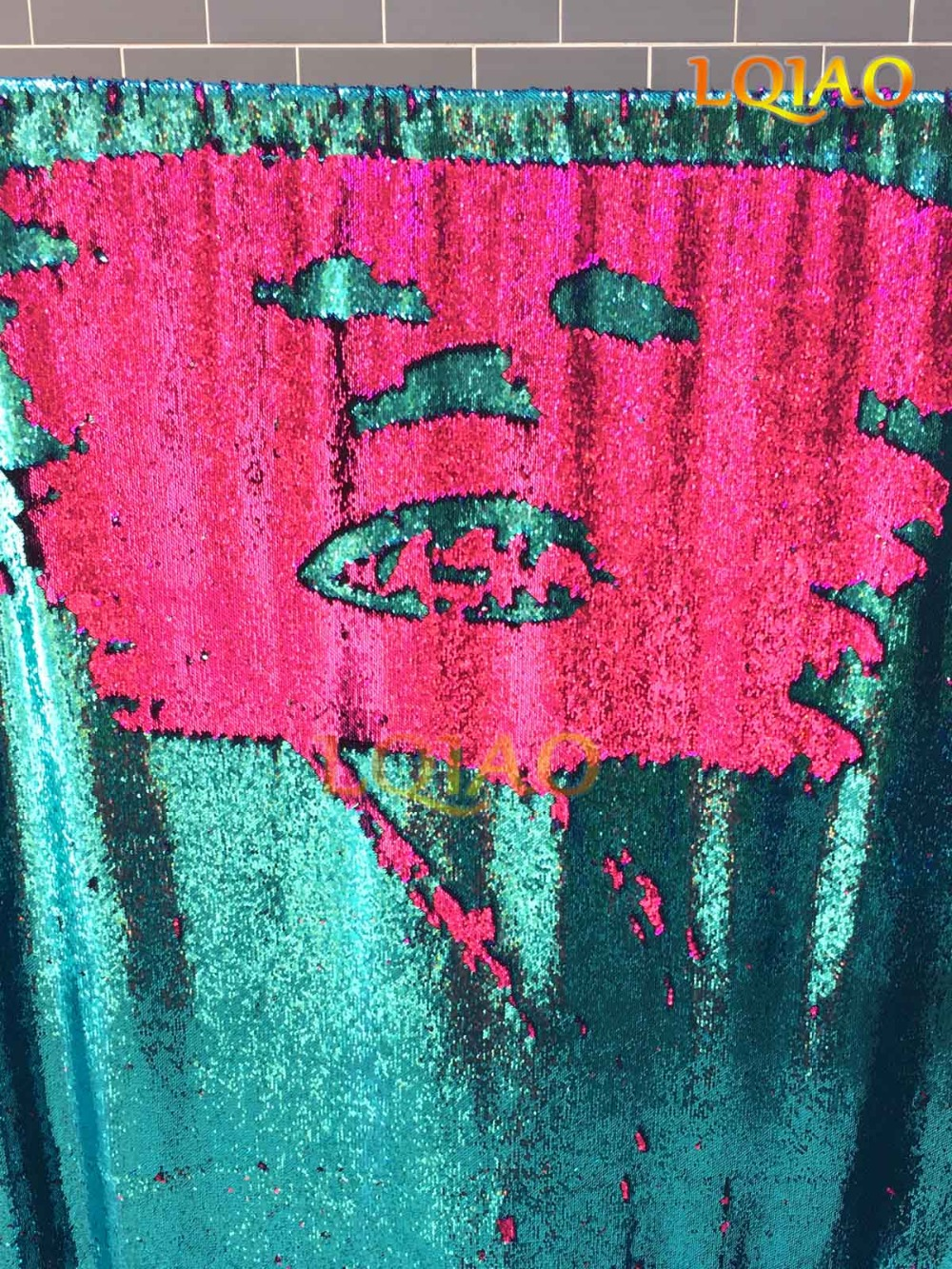 Deux Couleur-Turquoise-Fuchsia Réversible Paillettes Rideau en Toile De Fond, 4X8FT Sirène Flip Up Paillettes Tissu Mariage Photographie Toile De Fond