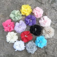 child Infant Colors Hair Lovely Barrette New Clips Hair 16 Accessories Cute Flower Rhinestones Hairpins Chiffon(China)