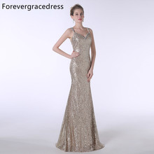 Forevergracedress Actual Photos Sequins Evening Dress Sexy Mermaid Spaghetti Straps Sleeveless Formal Party Gown Plus Size