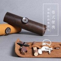 Vintage Style Cortex Cavo Organizer Bag Viaggi Portatile USB Pen Duro Cavi Auricolare Caso Pacchetto di Finitura Linea Dati