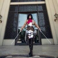 Ataque en Titán Cosplay Shingeki no Kyojin Mikasa Ackerman Cosplay Disfraces de Halloween Mujeres Conjunto Completo