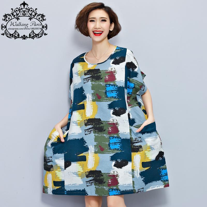 <font><b>Plus</b></font> <font><b>Size</b></font> Women Linen T-Shirt Summer Dress Chinese style Pattern <font><b>Print</b></font> <font><b>Tops</b></font>&Tees Casual <font><b>Vintage</b></font> Female Cotton T Shirt Dresses