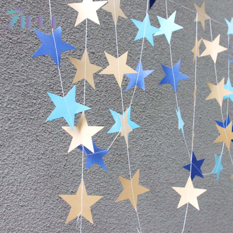 Zilue 5pcs/lot Long 4M Colorful Star-shaped Hanging Paper Garlands Flora String Birthday Party Home Holiday Decor Paper Garlands