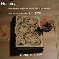 Hatimry натуральная кожаная книга для записей, блокнот тавелеры книги ручной работы винтажная гравировка цветок на кожаном обложке книги школ