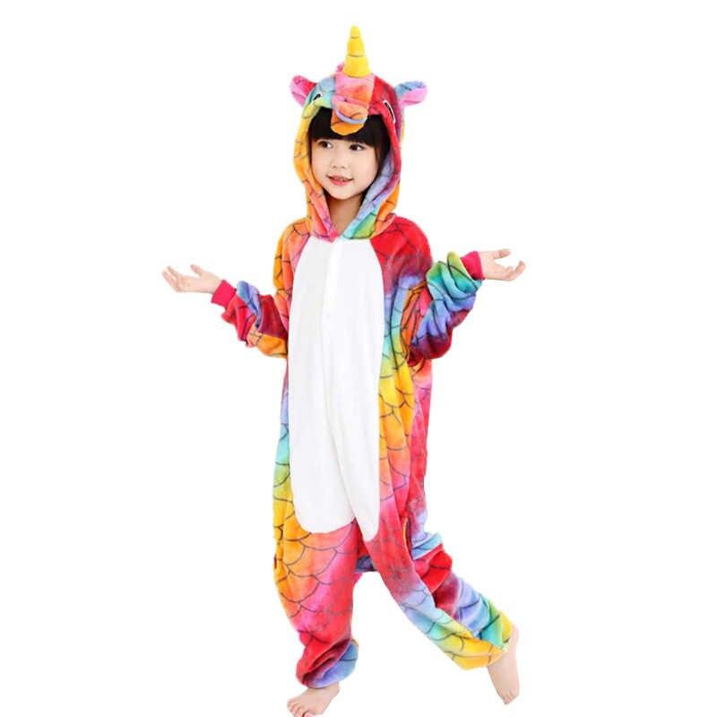 EOICIOI фланель животных Единорог для мальчиков пижамы для девочек с  капюшоном детская одежда для сна с aa143014a5d2b