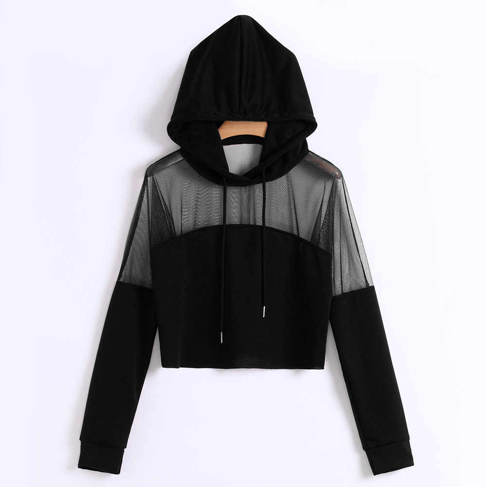 Harajuku Sweatshirt Hoodies Autumn 2020 Women Streetwear Mesh Patchwork Hoodie Clothes Cropped Tumblr Moletom Feminino