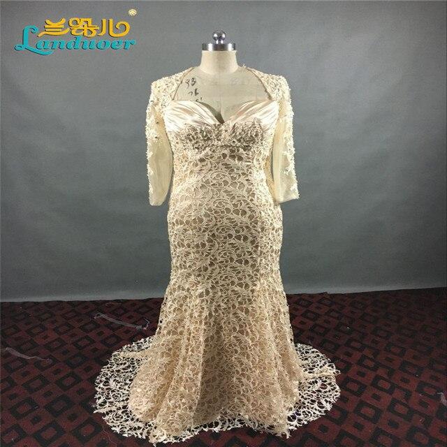 Настоящее фото на заказ великолепная бисера кружева русалка мать невесты платья три квартал Большой размер мать невесты платье