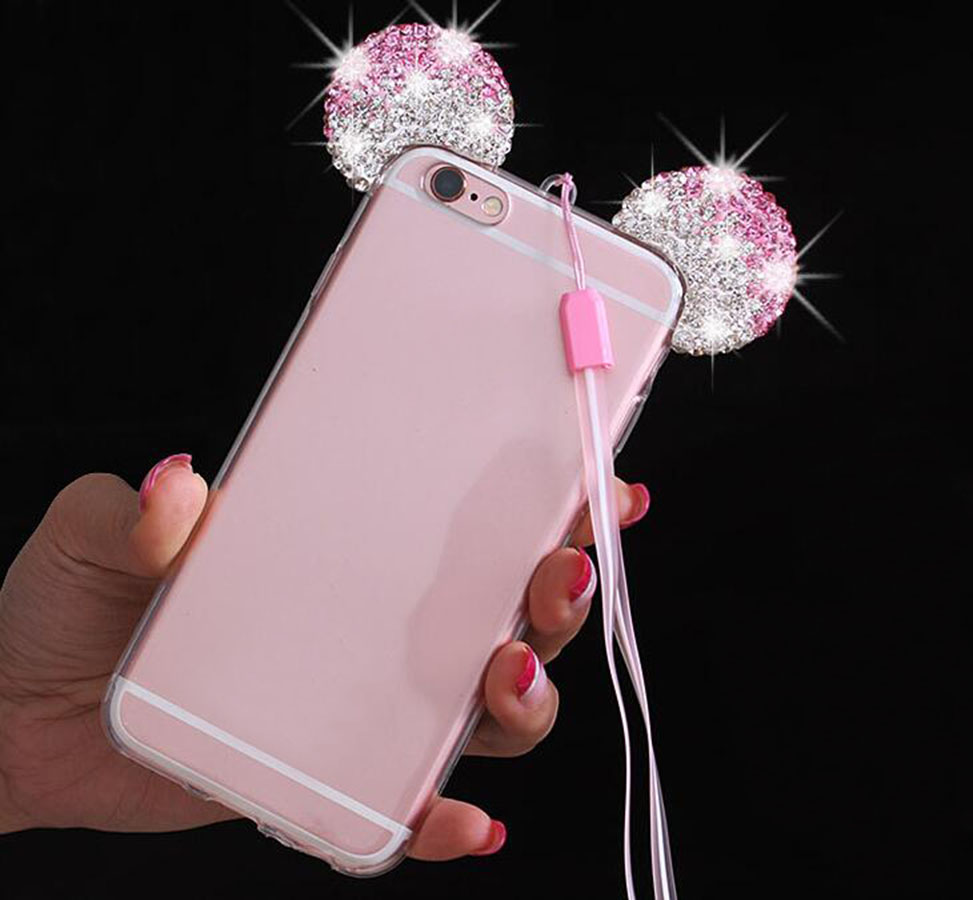 Rhinestones Phone <font><b>Cases</b></font> For iPhone X 7 Plus 6 <font><b>6s</b></font> 5S Luxury Soft TPU Mickey Ear Back Cover For <font><b>Samsung</b></font> Galaxy S8 Plus S7 <font><b>edge</b></font> S6 image