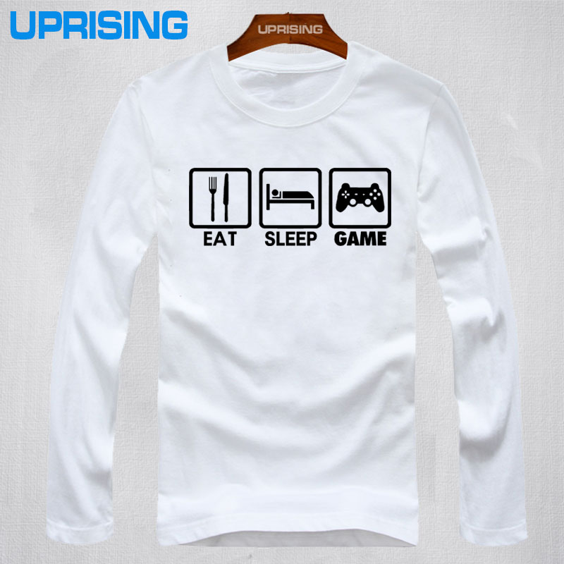 2016 New Fashion Eat Sleep Game XBOX font b Gamer b font Funny T shirt Men