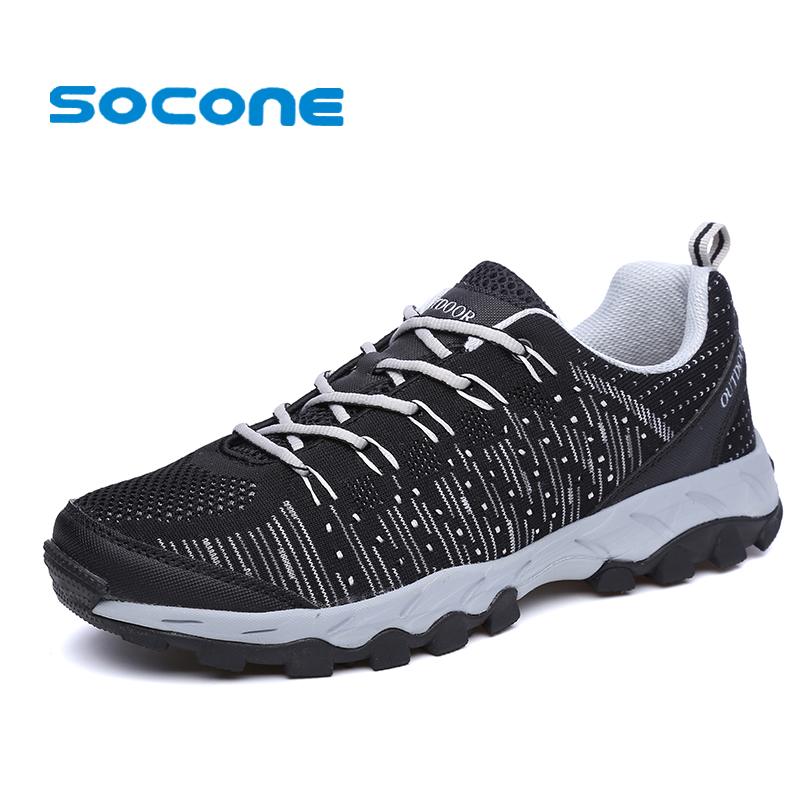 SOCONE 2017 Unisex Outdoor Running Shoes Men Sport Sneakers Breathable Fly Knit Women Walking Shoes Trail Running Shoes For Men outdoor sport women high top running shoes genuine leather running boots sneakers women plus big size