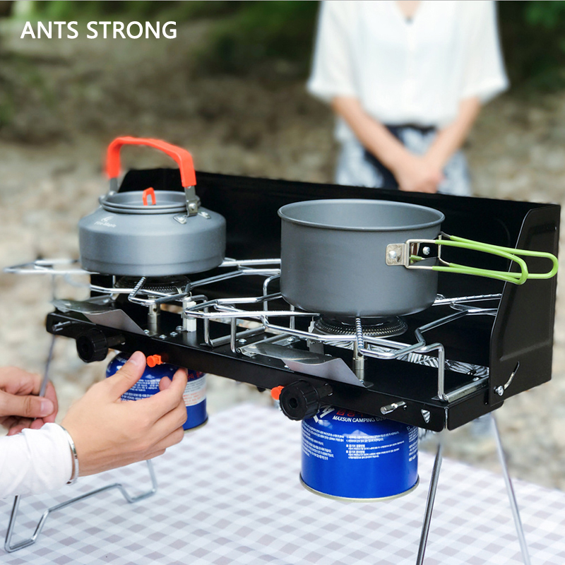 ANTS STRONG portable folding BBQ gas grill/Unique design dual outdoor stove dual-use barbecue grill icnic tools
