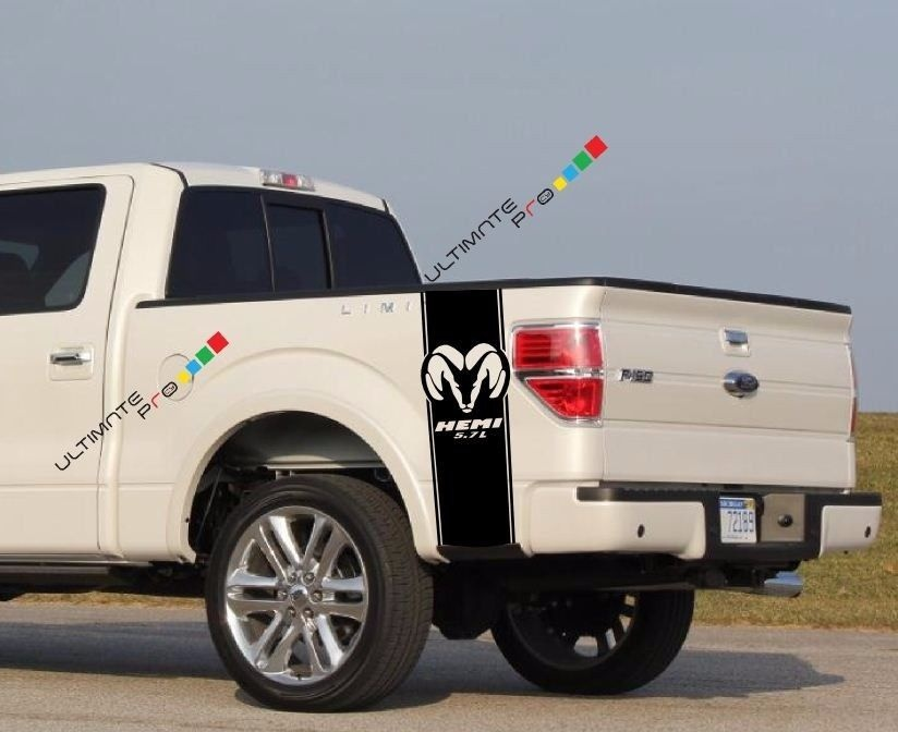 For 2xrear Bed Stripes Vinyl Graphic Racing Bands Decal Sticker Kit For Dodge Ram Hemi Car Styling For Hood Roof Truck