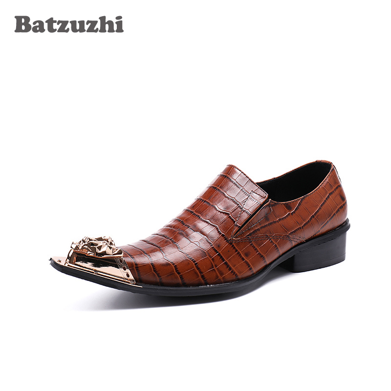 Handmade Luxury Men Dress Shoes Gold Metal Toe Formal Leather Dress Shoes Men Brown Leather Business Oxfords Footwear, US12 EU46 top quality business men cow real leather shoes black brown oxfords for man work dress footwear wedding formal shoes