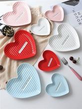 2 Size 13cm 20cm Love Heart Shape Ceramic Breakfast Dessert Steak  Nordic Dishes Plate Home Accessory Valentine Wedding