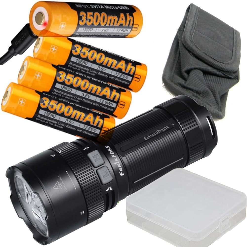 FENIX FD65 3800 Lumen CREE LED focus adjustable Flashlight/searchlight USB rechargeable battery kit with USB charging cable fenix hp25r 1000 lumen headlamp rechargeable led flashlight