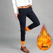 Neue Männer hochwertige baumwolle dicke Fleece warm im winter mode zerkratzt freizeit jeans/Mens beiläufige jeans Männliche hosen