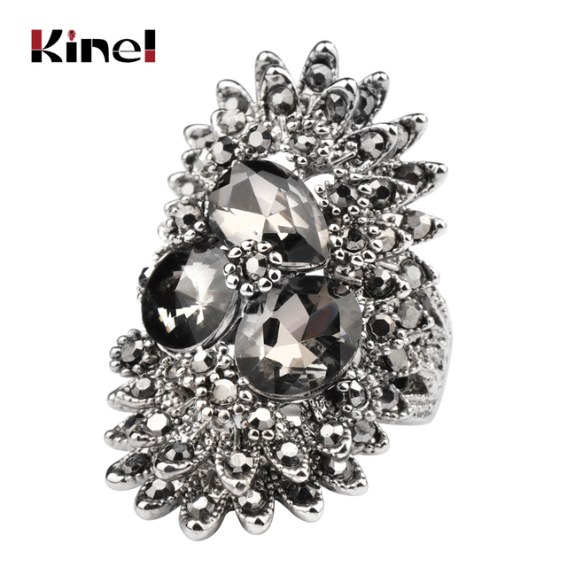 Kinel Unique Vintage Jewelry Gray Glass Big Rings For Women Ancient Silver Color