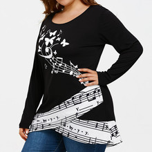 Plus Size 5XL Butterfly Musical Note Blouse Shirt Women Long Sleeve shirt Round Neck Tunic Tops