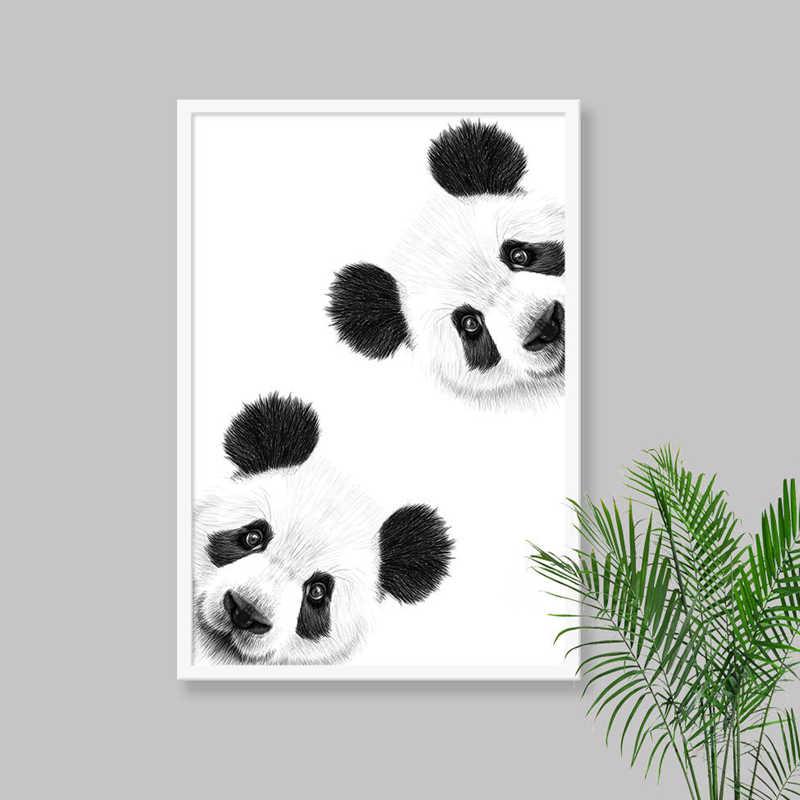 Sevimli Merakli Panda Cizim Tuval Poster Kres Duvar Sanat Baski