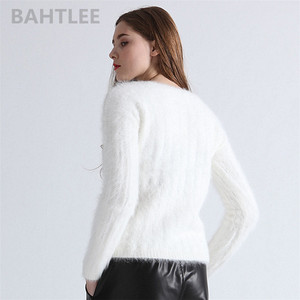 Image 4 - BAHTLEE Autumn Winter Women Angora Jumper Long Sleeve Knitted Stripes Pullovers Sweater Keep Warm Handwork Diamond White