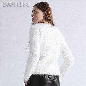 Image 4 - BAHTLEE, Осень зима, женский джемпер из ангоры, вязаные полосатые пуловеры с длинным рукавом, свитер, теплый, ручная работа, бриллиантовый белый