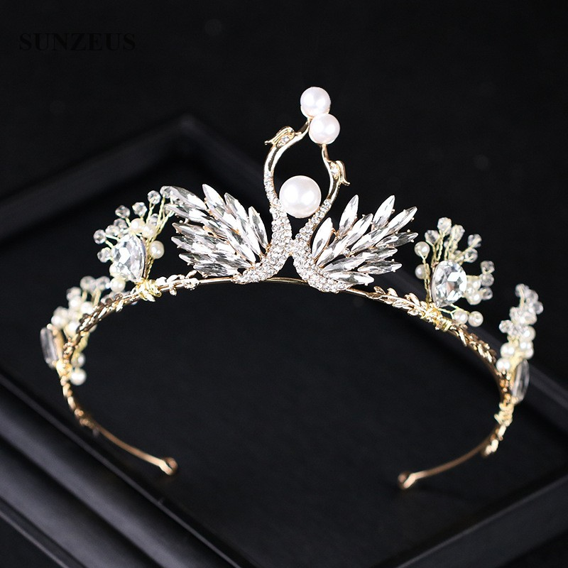 2020 Best-selling Bridal Tiaras Luxury Crystal Swans Crowns For Wedding Girls Birthday Party Headband Wholesale SQ322