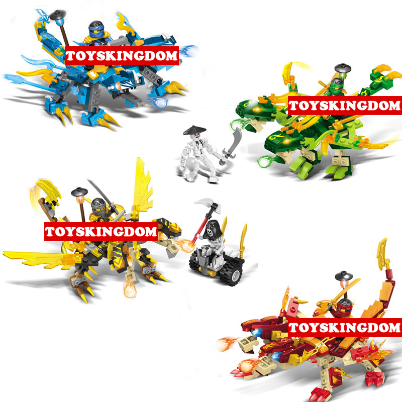 Hot ninja double head dragon knights go building block Kai Cole Jay Lloyd skeleton Pirate Sqiffy figures bricks toys for kids hot funland merry go round building block with motor figures whirligig bricks 10196 model electric toys collection for kids gfit