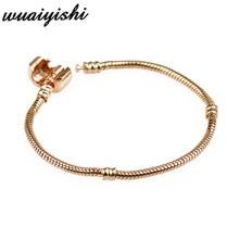 Fashion 925 Charm Bracelet Silver Snake Chain Clip Clasp Bead Fit Women Bracelet Bead Charms DIY Original Jewelry